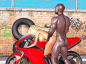 Sexy biker blonde gets fucked hard by a black man outdoor