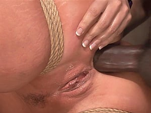 Tied Flower Tucci gets her pussy pleased in the stranger's basement