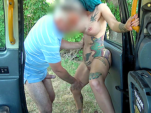 Kinky girl adores strong orgasm and a driver's juice on her face