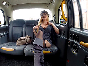 Hot blonde is ready to do everything for amazing orgasm in the taxi