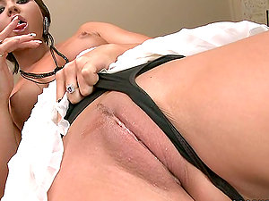 Natalia Forrest frigs her lickable snatch and slams it with a fuck stick