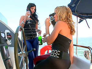Three Tantalizing Stunners Having Girl-on-girl Joy On A Boat