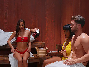 Relaxing time in sauna turns to hard threesome with Desiree Dulce