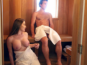 Relaxing time in sauna turns to hard sex with Brianna Rose and a dude