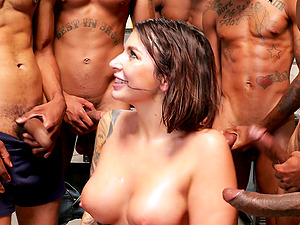 Dreams come true for lovely brunette Ivy Lebelle after this gangbang