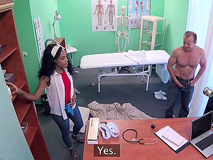 Noemilk gets her shaved pussy pleased by horny doctor in the hospital