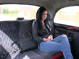 Sexy Daphne Klyde jumping on a driver's fat penis in the taxi cabine