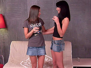 Hot Lezzy Vid with Two Black-haired Beauties