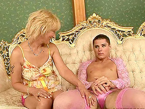 Crossdresser's Delight in Gettin His Donk Gobbled and Having Some Hump