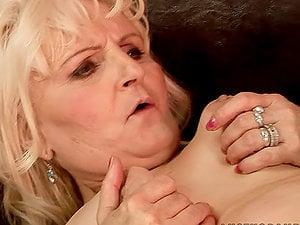 Beautiful Lesbo Nubile Strapon Fucking a Horny Granny