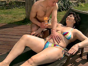 mature woman gives bj and rimjob and gets fucked