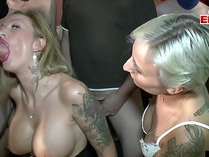 german cum party with swallow and creampie