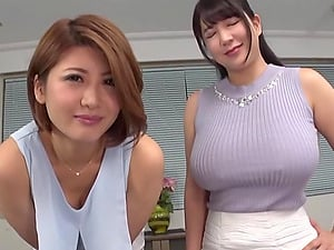 Two horny Asian girls blow dude's cock on the floor until he cum badly