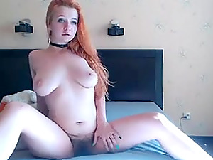 Horny Russian big titted redhead slut loves her vibrator
