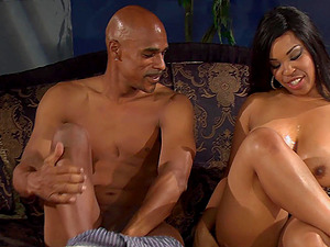 Ebony Aryana Adin is a real master of a blowjob before a doggy style