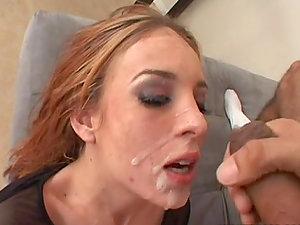 A Creamy Facial cumshot For Riley Bashful After Inhaling A Big Man sausage