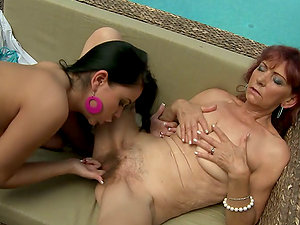 Summer old school lesbo hump with a mature lady