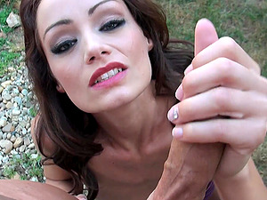 After a long day Sophie Lynx is on her knees blowing hard cock