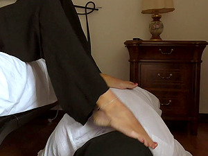 Mistress ignore her sub while he is licking her