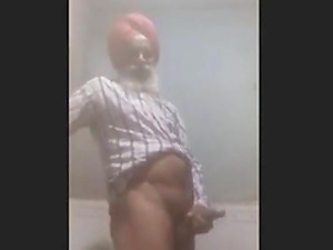Hot indian grandpa fingering in the toilet