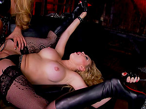 Two sultry blonde damsels have rough girl-on-girl romp
