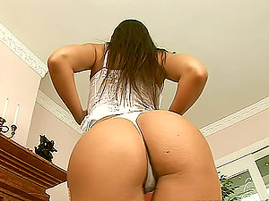 Eve Angel shows off her snatch and fucks it with a fuck stick