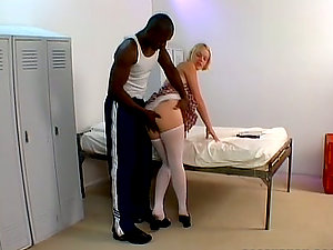Missy Monroe the adorable blonde gets fucked in a locker room