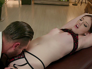 Brunette Lena Anderson is ready for her first BDSM in front of the camera