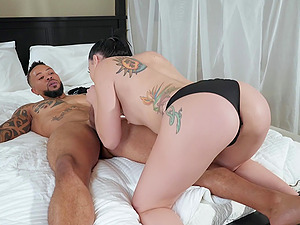 Slut wife Mandy Muse drops on her knees to suck neighbor's dick