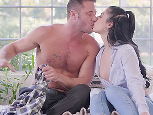 Gina Valentina gets fucked by hard friend's penis while she moans