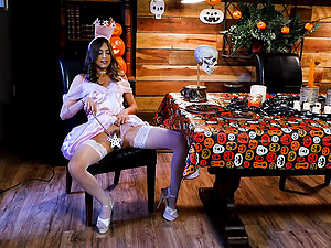 Halloween dinner ends with amazing sex for lingerie wearing Riley Reid