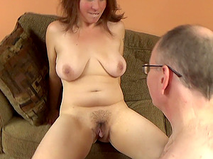Unshaved milf gets her holes licked and fucked by her horny friend