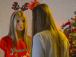 Christmas fucking with a strapon and models Gina Gerson & Blue Angel