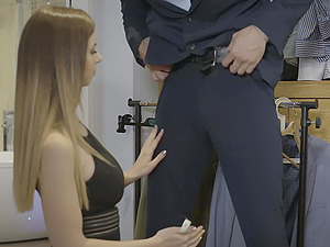 Sales girl Kai Taylor in amazing lingerie drops on her knees for a dick