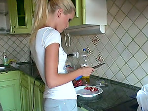 Peaches and Sophie Moone have fun sweet games in the kitchen