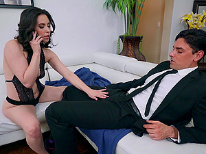 After sucking Casey Calvert is ready for hard sex on the couch