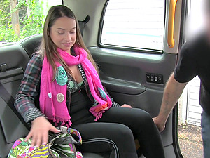 Russian girl gives a nasty rimjob and gets fucked in the taxi