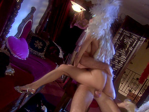 Erotic dancer Katie Morgan rides and swallows her customer's dick