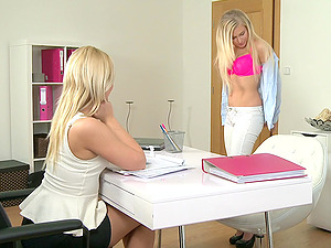 Two blonde chicks having lesbian sex on the bed during a job interview