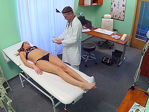Good looking redhead girl gets a full body exam with a hard dick