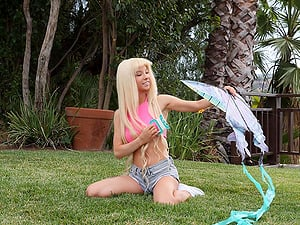 Kenzie Reeves playing in the backyard and having sex with a neighbor