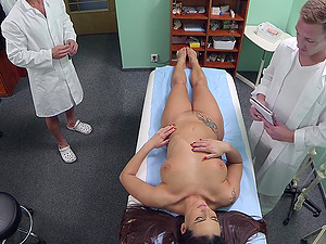 Slutty nurse Mea Melone fucked by the doctor and later by his son