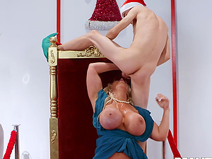 Naughty Santa gets a hard on when Alura Jenson sits on his lap