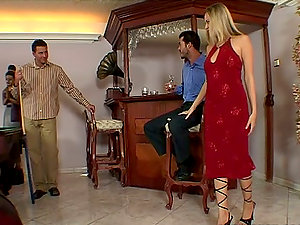 Victoria Swinger the stunning blonde gets fucked in hot MMF movie