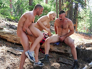 Outdoor threesome in the woods with amazing girl Abella Danger