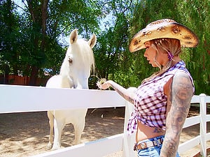 Tattooed slut Karma RX gets fucked in threesome on the farm