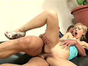Petite blonde whore Sasha Rose spreads her legs for anal sex