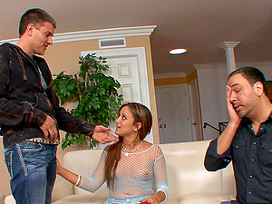 Lynn Love gets her cute face sprayed with jizz in front of her husband