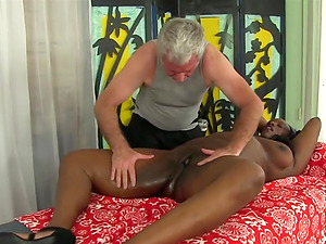 Sexy ebony BBWs enjoy their pussies being licked and teased by a masseur