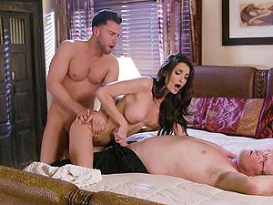 Horny wife Silvia Saige needs two rock-hard dicks to make her happy